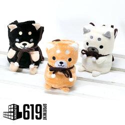 犬柴犬ぬいぐるみコンパクト膝掛けブランケット(小)