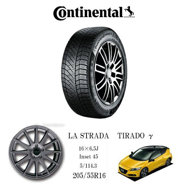 『コンチネンタルスタッドレスタイヤ・ホイール4本セット』ContiVikingContact™ 6 205/55R16 TIRADOシリーズ 16×6.5J 5H/114.3 CR-Z他スポーツカー