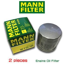【お買い得2個セット】MANN FILTER マンフィルター W712/95 フォルクスワーゲン ゴルフ7 ポロ5/AOPOF075