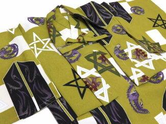 初節句に男の子赤ちゃん用被布コートと二部式着物のセット「抹茶六角星」HFB084
