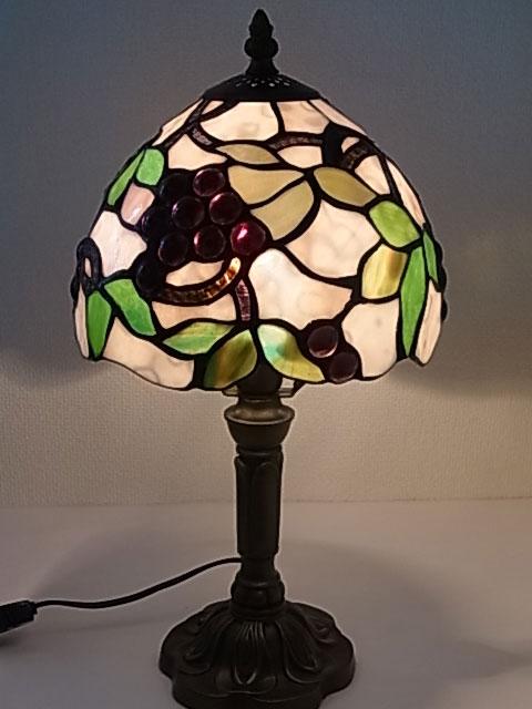 『ステンドグラスランプ』葡萄柄 8インチ・テーブルランプ(G0804772)【即納】【送料無料】