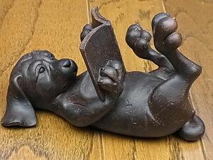 『アンティーク調雑貨 置物・オブジェ』 アンティーク調 モールドアニマル 読書(いぬ) 【即納】 置物 オブジェ 読書 犬