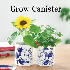 栽培キット Grow Canister グローキャニスター ミッキーマウス ミニーマウス 栽培セット 植物 グリーン ハーブ 野菜 ヒマワリ ワイルドストロベリー 向日葵 インテリア 置物 グッズ