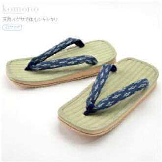 [GL] Men's Rush Grass Japanese Tatami Mat Setta Sandals with Classical Indigo Strap(Thongs)/ Size: 2L [Made in Japan]fs04gm