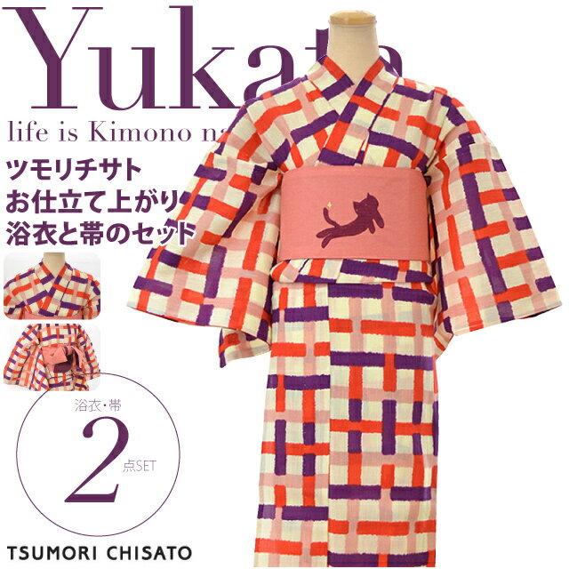 【女性浴衣セット】TSUMORI CHISATOコレクション ツモリチサト 2015モデル 5t-30 ゆかた2点セット レディース Ladies yukata 格子 猫【セット内容】浴衣・半巾帯【宅配便のみ】『sszev40』在庫品