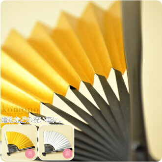[women-suehiro] Women's Japanese folding fan for wedding and other ceremonial party/ Black ribs/ Golden silver color Japanese paper/ For Kurotome-Sode (A type of formal Kimonos) [Standard item] Kimono accessories [Made in Japan]