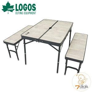 LOGOS/ロゴス ROSY ベンチテーブルセット4 家族で使える4人用テーブルセット コーディネートしやすいホワイトヴィンテージデザイン テーブルの高さは2段階調節が可能でオールインワン収納に