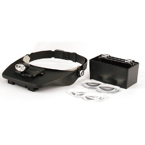 ヘッドルーペ 4枚レンズ付 2LEDライト付 [ 拡大鏡 拡大眼鏡 拡大メガネ 拡大ライト 拡大レンズ 眼鏡型 めがね型 メガネタイプ 眼鏡 メガネ ルーペ 精密作業 まつげエクステ まつエク ][ E-7-5-2 ]