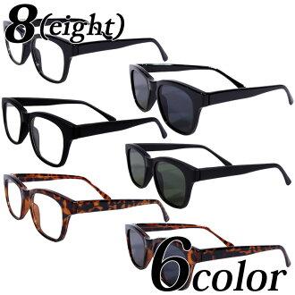 伊達メガネ 黒縁 メンズ ウェリントン メガネ 全6色 新作 眼鏡 黒ぶち眼鏡 黒 ブラック ウェリントン型 めがね サングラス アメカジ系 ストリート系 ロック系 に◎ レディース もOK♪ 8(eight) エイト 8