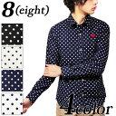 シャツ メンズ 長袖 ドット 水玉 ロング新作 国産 日本製 ハート刺繍 水玉柄 ドット柄コットン 綿 メンズシャツ 大き…