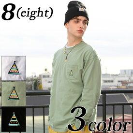 ビッグロングTシャツ メンズ ロンT全3色 新作 Tシャツ ポケット付きイラストプリント コットン ビッグTシャツ 大きめホワイト 白 ブラック 黒 モスグリーン 刺繍ストリート アメカジ アウトドア8(eight) エイト 8