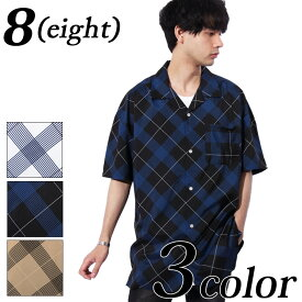 総柄シャツ メンズ 半袖シャツ全4色新作シャツチェックビッグシルエットホワイト白シャツブラック黒ベージュ半袖シャツMLアメカジスリート海夏に8(eight)エイト8