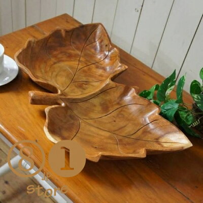 オリジナルハンドメイド葉っぱ型サラダボウル木製トレイモンキーポッド大型70cm