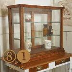 卓上ガラスケース古木3段5面収納棚飾り棚駄菓子店舗什器