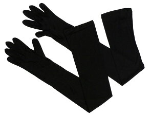 シルクで指まで覆うロングUVカット手袋(ブラック)シルク100%UVカットアームカバーカット率95.7%保湿おやすみ手袋紫外線841【あす楽】[I:9/40]