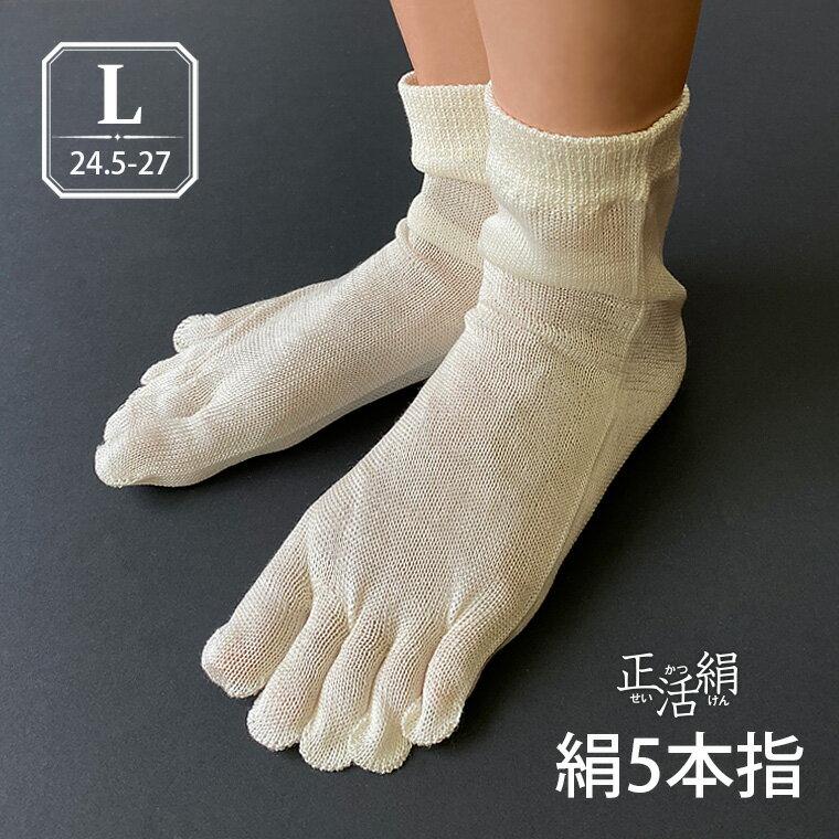 【冷えとり靴下 正活絹】絹5本指靴下(L) シルク100% 5本指ソックス メンズ 大きいサイズ 841 日本製【あす楽】[I:3/20]