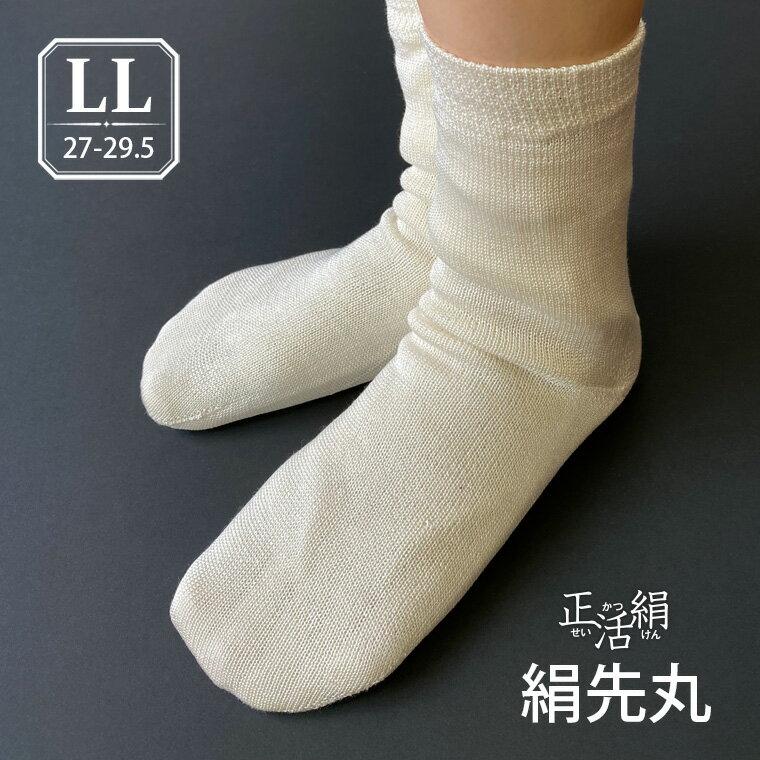 【冷えとり靴下 正活絹】絹先丸靴下(LL) シルク100% メンズ 841 日本製【あす楽】[I:9/40]