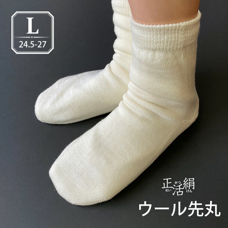 【冷えとり靴下 正活絹】ウール先丸靴下(L) ウール100% メンズ 841 日本製【あす楽】[I:3/10]