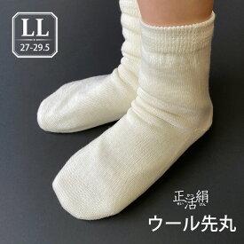 【冷えとり靴下】【正活絹】ウール先丸靴下(LL) ウール100% メンズ 日本製 841【あす楽】[I:3/10]