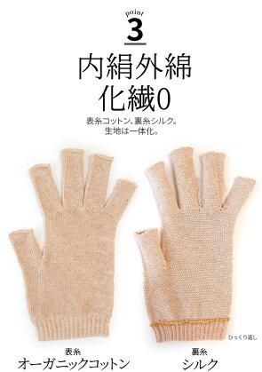 ゆったり100%内絹外綿ハンドウォーマー冷え取り841【あす楽】[I:3/20]