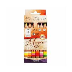 ※メール便対応不可商品※【KOH-I-NOOR/コヒノール】MAGICショートタイプマーブル色鉛筆12色セット+1コヒノールKH3404