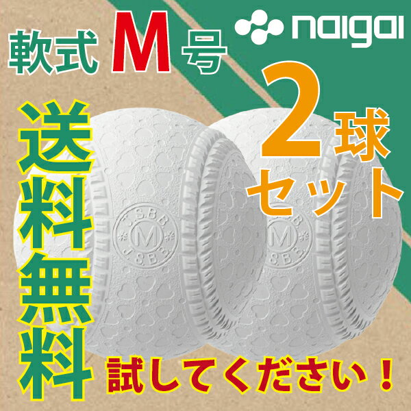 【あす楽対応】ナイガイ 軟式野球ボール M号 一般・中学生向け 2球セット 軟式ボール【送料無料】