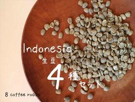 飲み比べ! 新 インドネシア産生豆スターターセット!VOL.3(4種類 100g×4袋)【メール便対応可】