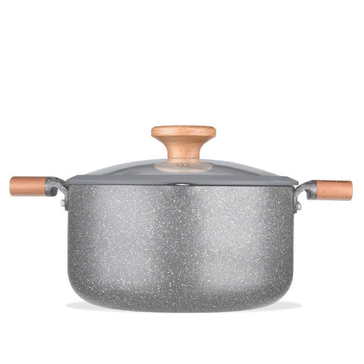 MOTOMI 両手鍋22cm IH対応 両手鍋 スープ鍋 シチュー ガラス蓋付 マーブルコート アルミニウム合金 (両手鍋22cm)