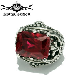 【Royal Order/ロイヤルオーダー】CORONET WINGED HEART RING /RED コロネットウィングハートリング クリスタル 赤 レッド 石 大粒 指輪 ゴシック調 シルバーアクセサリー レディース ゴツめ メンズアクセサリー silver925 シルバーリング Ring