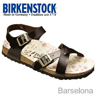 BIRKENSTOCK( ビルケンシュトック) Barcelona( Barcelona) patent brown / building colon flower foot bed liner [shoes, sandals shoes] [smtb-td] [after0307]
