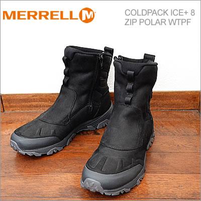【あす楽対応】メレル MERRELL コールドパック アイス+ 8 ジップ ポーラー ウォータープルーフ COLDPACK ICE+ 8 ZIP POLAR WATERPROOF ブラック BLACK 防水 ブーツ 靴 シューズ