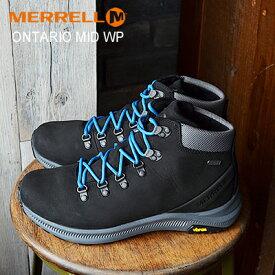 ★40%OFF★MERRELL ONTARIO MID WATERPROOF メレル オンタリオ ミッド ウォータープルーフ BLACK ブラック 防水 ブーツ フェス 靴 シューズ