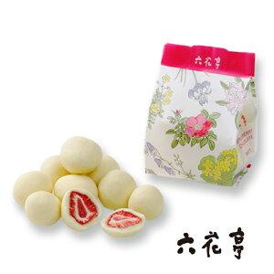 六花亭 ストロベリーチョコホワイト 袋タイプ(80g) 北海道お土産 お返し 友人 お取り寄せ 贈り物 いちご 花柄 ドライフルーツ チョコレート お返し お礼 ギフト ろっかてい 製菓北海道物