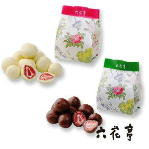 六花亭 ストロベリーチョコセット 袋タイプ 80g (ミルク・ホワイト) / 北海道お土産 お返し 友人 お取り寄せ 贈り物 かわいい いちご ドライフルーツ チョコレート ろっかてい 製菓 母の日