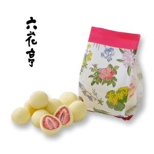 六花亭 ストロベリーチョコホワイト 袋タイプ(60g) / 北海道お土産 お取り寄せ 300円 ばらまき いちご 花柄 ドライフルーツ チョコレート 子供 お返し かわいい ギフト ろっかてい 北海道物