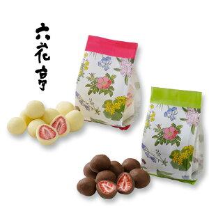 六花亭 ストロベリーチョコセット 袋タイプ 60g (ミルク・ホワイト) / 北海道お土産 お返し 友人 お取り寄せ 贈り物 かわいい いちご ドライフルーツ チョコレート ろっかてい クリスマス
