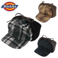 ディッキーズブロックチェックハンティングキャップ耳あて付き帽子Dickiesメンズレディースフライトキャップパイロットキャップ