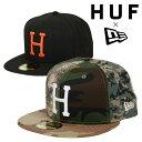 HUF ハフ×ニューエラ キャップ コラボ 帽子 59FIFTY New Era CAP メンズ ベースボールキャップ スケーター スケートブランド 人気 カモ 迷彩