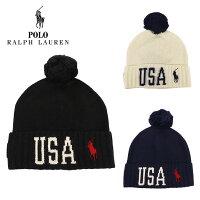 ポロ・ラルフローレンニット帽メンズレディースボンボン付きUSAニットキャップ帽子