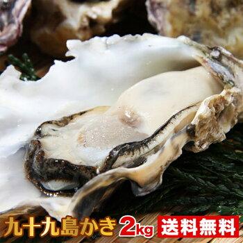 【送料無料】九十九島産殻付き牡蠣2kg