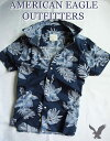 【送料無料】アメリカンイーグル AMERICAN EAGLE OUTFITTERS【正規品】【メンズ】半袖シャツ フローラル柄 カジュアルシャツ/Navy Floral【あす楽対応】