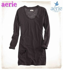 aerie アエリー(by AMERICAN EAGLE OUTFITTERS)【正規品】【レディース】長袖 長め丈 カットソー チュニック/Grey【あす楽対応】