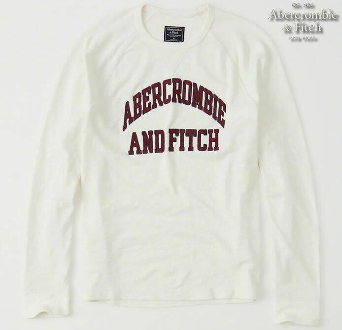 【送料無料】アバクロ Abercrombie&Fitch【正規品】【メンズ】ロゴアップリケ 長袖Tシャツ ロンT/Cream