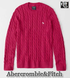 【送料無料】アバクロ Abercrombie&Fitch【正規品】【メンズ】ムース刺繍 コットンケーブルニット セーター/ピンク【あす楽対応】