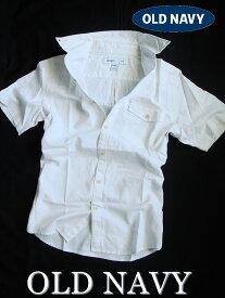 【送料無料】オールドネイビー OLD NAVY【正規品】【メンズ】Mens Linen-Blend 半袖シャツ リネン カジュアルシャツ ボタンダウンシャツ/ホワイト