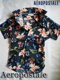 【送料無料】エアロポステール Aeropostale【正規品】【メンズ】半袖 シャツ アロハシャツ カジュアルシャツ/Gunmetal(フローラル柄)【あす楽対応】