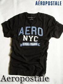【メール便送料無料】エアロポステール Aeropostale【正規品】【メンズ】半袖 ロゴアップリケ Tシャツ/ブラック(AERO NYC)