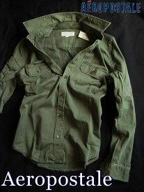 【送料無料】エアロポステール Aeropostale【正規品】【メンズ】Long Sleeve Workwear Shirt 長袖 ワークシャツ ミリタリーシャツ/オリーブ【あす楽対応】