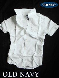【送料無料】オールドネイビー OLD NAVY【正規品】【メンズ】Regular-Fit Pocket Shirt 半袖 リネンシャツ カジュアルシャツ ミリタリーシャツ/ホワイト