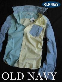 【送料無料】オールドネイビー OLD NAVY【正規品】【メンズ】Mens Regular Fit Shirts 長袖シャツ カジュアルシャツ/Blue×Green×Yellow【あす楽対応】
